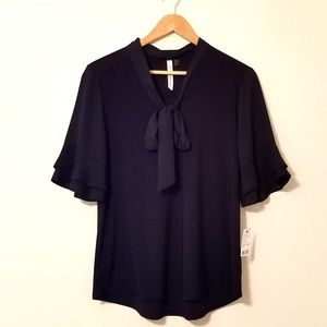 New NY Collection Black Bell Sleeves Blouse